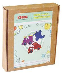 Kidoz Transportation Wooden Jigsaw Puzzle Pack of 3 Puzzles - Multicolour