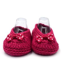 Magic Needles Handmade Crochet Booties With A Bow - Pink