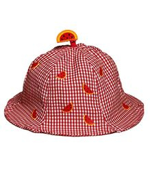 Little Hip Boutique Checks Printed Cap - Red