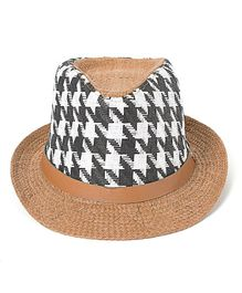Little Hip Boutique Houndstooth Printed Hat - Black & White