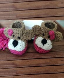The Original Knit Little Puppy Booties - Pink & Brown
