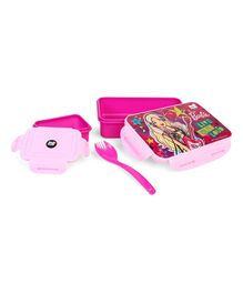 Barbie Lunch Box With Fork Spoon - Pink