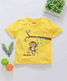 Babyhug Half Sleeves Tee Monkey Print - Yellow