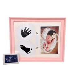Passion Petals Baby Hand & Foot Print Kit With Frame - Pink