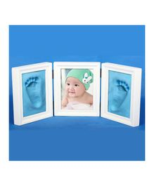 Passion Petals Baby Handprint Kit With Wooden Frame - Blue White