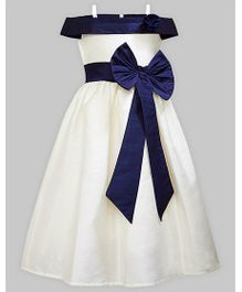 A.T.U.N Off Shoulder Gown - White & Blue
