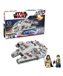 Emob Millennium Falcon Theme 3D Building Blocks Set Silver - 367 pieces