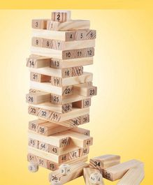 Emob Wooden Jenga Building Blocks With Dice Light Brown - 51 pieces