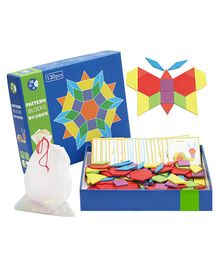 Emob Wooden Geometric Shape Blocks Multi Color - 130 pieces