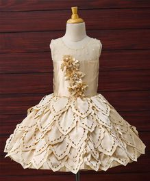 Enfance Rose Petals Cut Dress With Solid Shiny & T-Issue Broaches- Gold