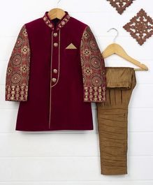 Rikidoos Party Wear Sherwani And Pyjama Set - Maroon