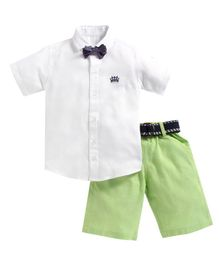 Kids Clan Half Sleeves Shirt With Bow Tie & Short Set - White & Green