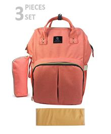 T-Bags Diaper Backpack With Bottle Holder & Changing Mat - Peach