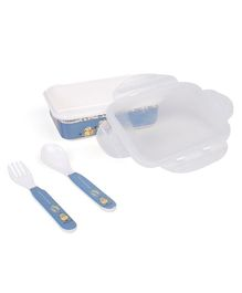 Servewell Minions Lunch Box With Fork & Spoon - Blue White