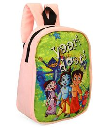 Chhota Bheem Plush School Bag Peach - 13 inches
