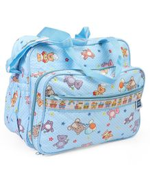 Mee Mee Diaper Bag Bear Print - Light Blue