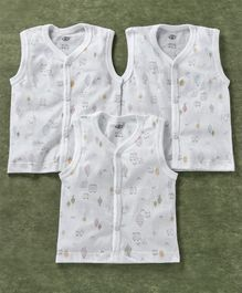 Zero Sleeveless Vest Sheep Print Pack of 3 - White