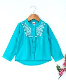 Babyhug Full Sleeves Embroidered Woven Cotton Top - Aqua Blue