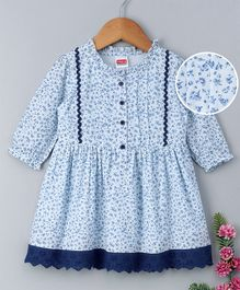 Babyhug Full Sleeves Cotton Printed Frock - Blue