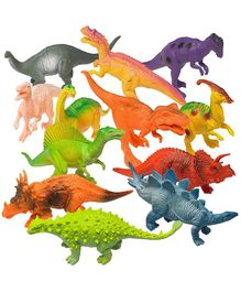 Prextex Assorted Dinosaur Figures Pack of 13 - Multicolour