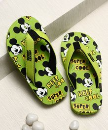 Disney Mickey Mouse Flip Flops With Back Straps - Green