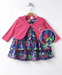 Olio Kids Ruffled Sleeves Frock With Shrug Strawberry Print - Blue Pink