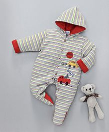 Child World Winter Wear Full Sleeves Hooded Stripe Romper Car Patch - White Red