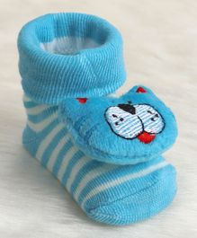Cute Walk by Babyhug Ankle Length Sock Shoes Kitty Motif - Blue