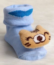 Cute Walk by Babyhug Socks Shoes Tiger Face Applique - Sky Blue