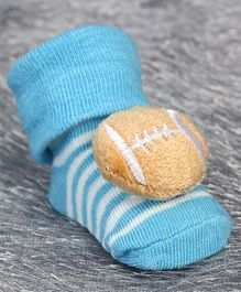 Cute Walk by Babyhug Ankle Length Sock Shoes Rugby Motif - Sky Blue