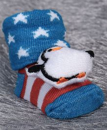 Cute Walk by Babyhug Ankle Length Sock Shoes Penguin Motif - Dark Blue