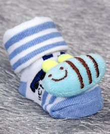 Cute Walk by Babyhug Sock Shoes Bee Motif - White Blue
