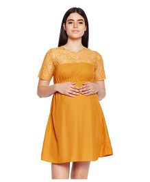 Oxolloxo Half Sleeves Solid A-Line Maternity Dress - Yellow