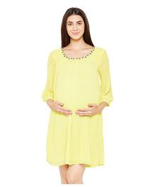 Oxolloxo Three Fourth Sleeves Embellished Maternity Dress - Yellow