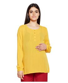 Oxolloxo Full Sleeves Maternity Top - Yellow