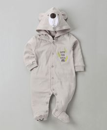 Wonderchild Bear Theme Hooded Romper - Grey