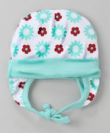 Babyhug Cotton Tie Knot Ear Flap Cap Floral Print - Sea Green