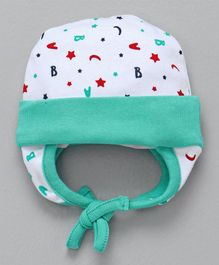 Babyhug Cotton Tie Knot Ear Flap Cap Alphabet Print - Sea Green