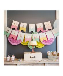 Balloon Junction Happy Birthday Banner - Pink & Gold & Mint Green