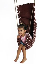 CuddlyCoo Cotton Canvas Hammock Swing Feather Print - Brown