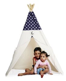 CuddlyCoo Cotton Canvas Tent With Wooden Dowels Star Print - Blue