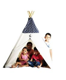CuddlyCoo Cotton Canvas Tent With Wooden Dowels Polka Dots Print - Grey