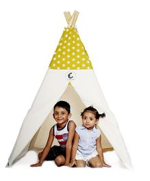 CuddlyCoo Cotton Canvas Tent With Wooden Dowels Star Print - Mustard Yellow