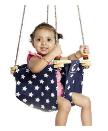 CuddlyCoo Baby And Toddler Swing Star Print –  Blue