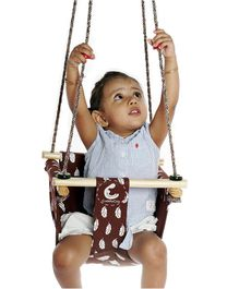 CuddlyCoo Baby And Toddler Swing Feather Print –  Brown