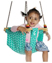 CuddlyCoo Baby And Toddler Swing Zigzag Print –  Cyan