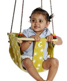 CuddlyCoo Baby And Toddler Swing Sun Print –  Mustard Yellow