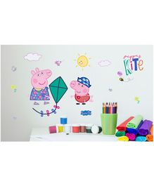 Asian Paints Wall Ons Peppa Pig George flies kites Removable Wall Sticker - Large
