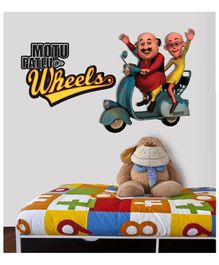 Asian Paints Wall Ons Motu Patlu Duo On Wheels Removable Wall Sticker - XXL