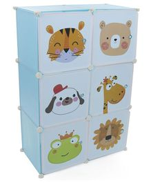 6 Compartment Storage Rack Animal Face Print -  Light Blue